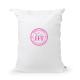 Equestrian Laundry Bag Dirty Bag - White / Fuchsia Logo